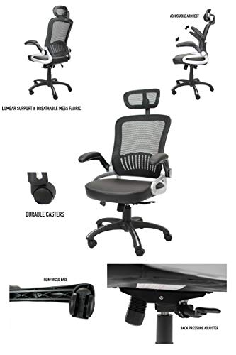 Office Factor Ergonomic Mesh Office Chair, High Back Desk Chair, Adjustable Head Rest with Flip-Up Arms, Tilt Function, Lumbar Support, Swivel Computer Task Chair (Black)