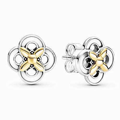 PANDOCCI 2021 Primavera Dos Tonos Flor Stud Pendientes para Mujer Plata 925 DIY Se adapta a pulseras originales Pandora Charm Fashion Jewelry