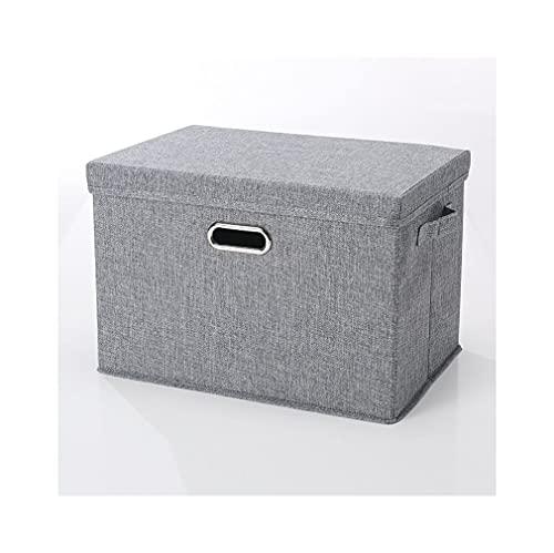 Cajas Organizadoras Tela con Tapa Y Asas Cajas De para Ropa Juguetes Libros Papeles Etc(Size:37×27×26cm,Color:Gris)