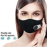 Escudo Protector eléctrico Inteligente Antipolvo Negro, purificador de Aire de Ventilador Inteligente a Prueba de contaminación Reutilizable,Protector protección Aire Fresco para Viajes al Aire Libre