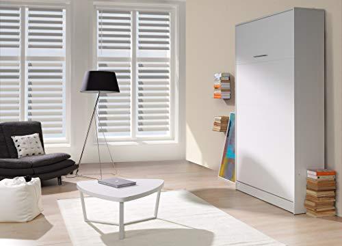 QMM Traum Moebel Schrankbett Wandbett vertikal VB 140x200 weiß Eiche Sonoma 4 Farben ausklappbares Wandbett, Wandklappbett