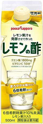 ポッカサッポロ レモン果汁を発酵させて作ったレモンの酢 (紙パック) 500ml×6本