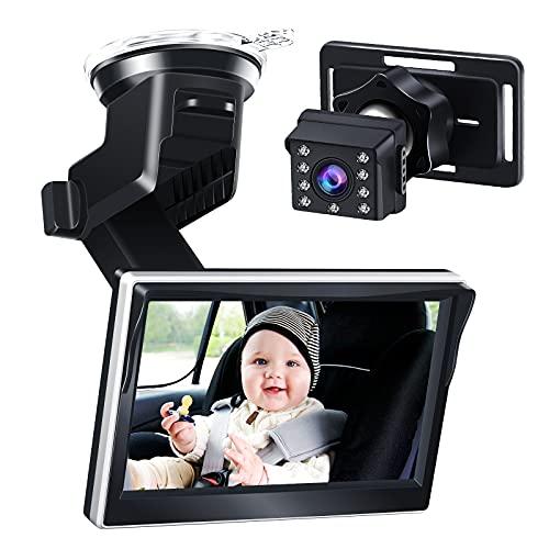 아기 - 자동차 미러 - 베이비 카메라 야간 투시경이있는 5 인치 1080P HD 디스플레이 뒷면을 향한 유아보기 자동차 시트 와이드 뷰 카메라 모니터 미러 재사용 가능한 빨판 브래킷 쉽게 아기의 움직임을 관찰