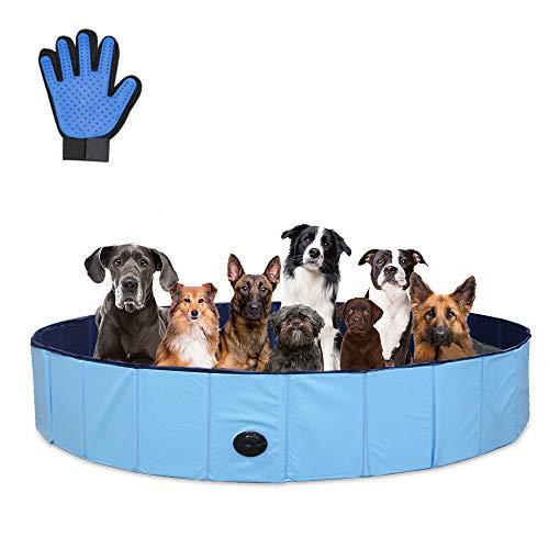 Sehrgo ZEHNHASE 160CM Piscina per Cani, Vasca per Bambini,Vasca da Bagno per Cani, Vasca per Cani di PVC Pieghevole Antiscivolo Resistente all'Usura, Guanto per Animali Domestici Gratuito