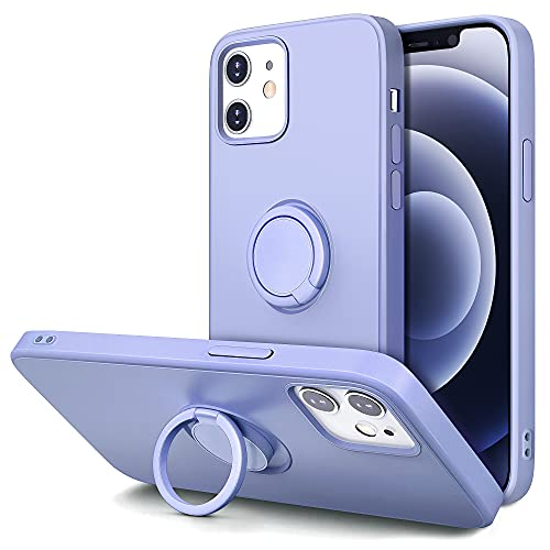 Hython Case for iPhone 12 Case & iPhone 12 Pro Case with Ring Stand, 360° Rotatable Ring Holder Magnetic Kickstand, Shockproof Rubber Protective Phone Case Cover Inner Microfiber Lining, Light Purple