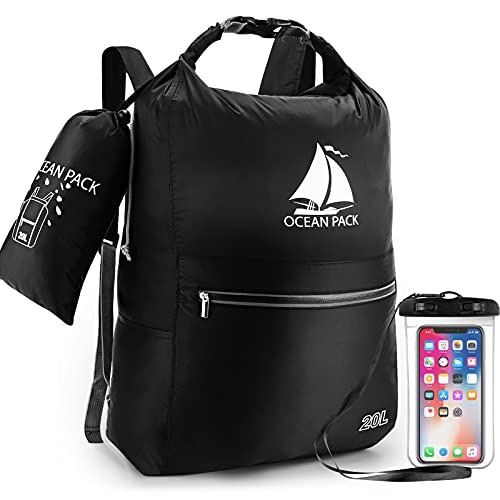 Bolsa seca impermeable, mochila flotante compacta de 20 litros, bolsa seca enrollable con funda impermeable para teléfono para kayak, playa, rafting, barco, senderismo, camping y pesca