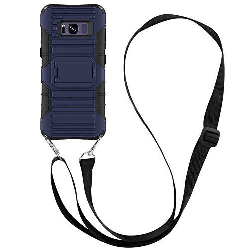 JammyLizarD Outdoor Hülle kompatibel mit Samsung Galaxy S8 Schutzhülle mit Handyband [Taurus] Doppelschutz Hardcase Silikon TPU Skin, Dunkelblau