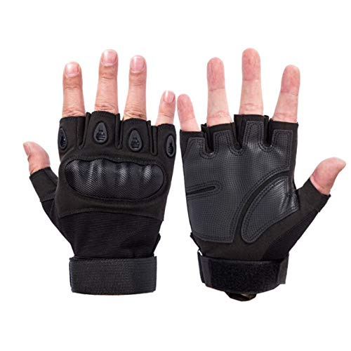 SFEEXUN Tactical Fingerless Gloves for Men, Military Knuckle Combat Gloves Army Armored Airsoft Gloves for Motorbike Cycling Climbing Hiking Hunting Boxing (Black, XL)