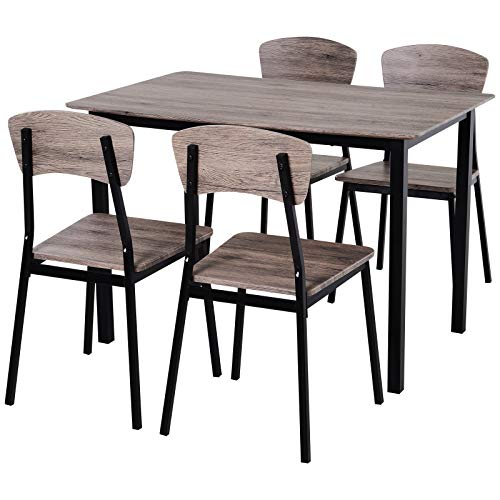HOMCOM 5 Pieces Compact Dining Table Set 4 Chairs Wood Kitchen Dining Room...
