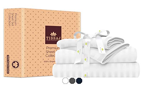 Tissaj California King Size Bed Sheets Set - Stripes Ultra White - 100% GOTS Certified Organic Cotton - 300 TC - 4 Piece Bedding - 2 Pillow Cases, Flat Sheet & Fitted Sheet with 16 Inch Deep Pocket