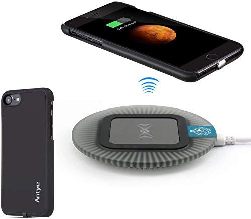 Antye Qi Wireless Ladegerät Kit für iPhone 7 (4.7 Zoll)【Drahtlos Ladegerät Lade Pad &Wireless Charging Receiver für iPhone 7】 (Schwarz)