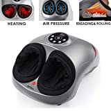 INTEY Masajeador de pies Shiatsu Masajeador de pies eléctrico con función de calor, amasado, rodillo y compresión de aire, 5 niveles de intensidad, 2 modos, temporizador