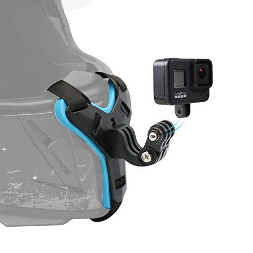 SUREWO Motorcycle Helmet Chin Strap Mount for GoPro Hero 9/8/7/(2018)/6/5 Black,Session 4,Hero 3,DJI Osmo Action,Insta360 ONE R,AKASO/Campark/YI and More
