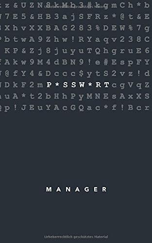 Passwort Manager: Notizbuch für Zugangsdaten mit Register A-Z