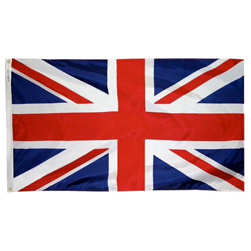 Annin Flagmakers Model 198893 United Kingdom Flag 3x5 ft. Nylon SolarGuard Nyl-Glo 100% Made in USA to Official United Nations Design Specifications.
