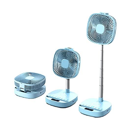 HXXXIN Ventilador De Soporte Plegable Ventilador De Piso para El Hogar Luz De Noche Carga Inalámbrica Ventilador Eléctrico Reproductor De Música Altavoz,Azul
