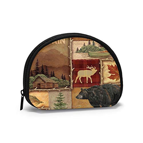 Rustic Lodge Bear Moose Deer Women Portable Coin Purse Zippered Change Pouch Wallet Shell Storage Bags