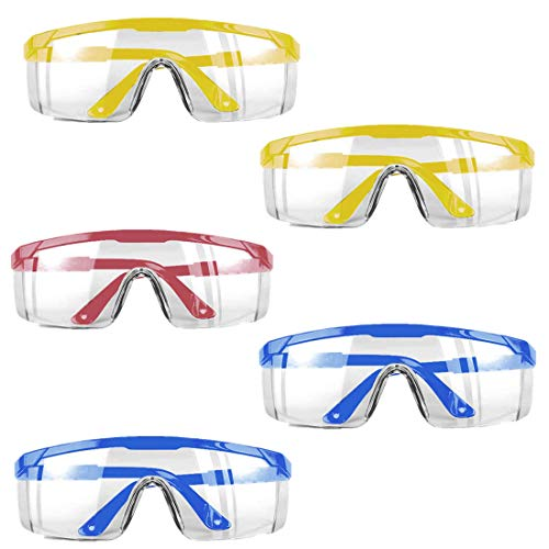 5-Pack Goggles Safety Protective Goggles,Dust-Proof Breathable Laboratory Dustproof Glassess,Perfect Eye Protection for Lab, Chemical,Splash Goggles