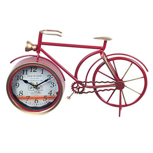 CAPRILO. Reloj de Mesa Decorativo Retro de Metal Bicicleta Roja. Adornos y Figuras. Vehículos. Decoración Hogar. Menaje. Muebles Auxiliares. Regalos Originales. 37 x 5 x 23 cm.