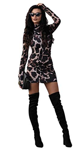 Damen Bodycon Kleid Rollkragen Knielang Elegent eng Partykleid Abendkleid Langarm Kleid Clubwear (Style-D, L)