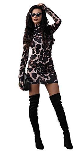 Dames bodycon jurk rolkraag knielange elegant strak partyjurk avondjurk lange mouwen jurk clubwear