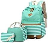 Zaino Donna Borsa Viaggio Canvas Rucksack Ragazze Adolescenti Scuola Studente Università 15.6 Pollici Laptop Notebook Taccuino Women USB Backpack Girls Travel Casual Bag Daypack Piccolo (7-Verde)