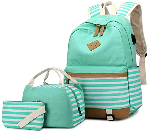 Zaino Donna Borsa Viaggio Canvas Rucksack Ragazze Adolescenti Scuola Studente Università 15.6 Pollici Laptop Notebook Taccuino Women USB Backpack Girls Travel Casual Bag Daypack Piccolo (7-Verde)