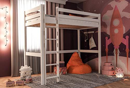 XXL Discount Kinderhochbett Hochbett Kinderbett Luis Meine Liebe Buche Vollholz massiv weiß lackiert inkl. Rollrost 90 x 200 cm Kinderbett Spielbett Jugendbett Massivbett Kinderzimmer Jugendzimmer