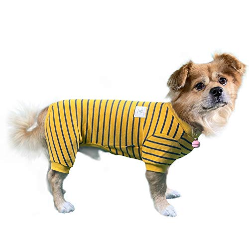 TONY HOBY Pet Clothes Stripe Dog Cat Pajamas, Autumn Winter Keep Warm Dog Jumpsuits Baby Standard Material Yellow Black