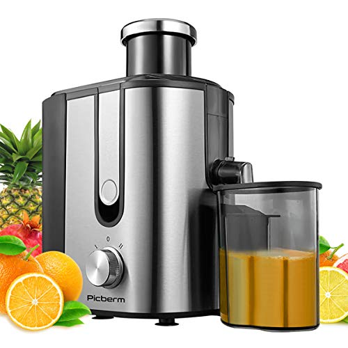 Juicer, Picberm Centrifugal Juicer Machines Easy to Clean, Wide Feed Chute Compact Juice Extractor with Brush & Recipes for Fruits and Vegetables, Dual Speed Stainless Steel BPA-Free Anti-drip Juicers Dishwasher Safe, 600 W