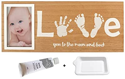 Baby Footprint & Handprint Photo Frame Kit   Includes White Paint and Paint Tray   Perfect Baby Shower Gift for Boy & Girl   Newborn Keepsake Frame   Foot & Hand Impression (17 x 7 Inches) by