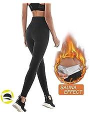 Nheima yogabroek voor dames, hoge taille lang, stretch-leggings voor yoga, zachte fitnessbroek, sauna broek voor dames, zweeteffect, afnemen van buik en taille