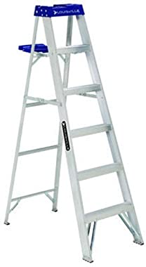 Louisville Ladder Louisville AS2100, 250 lb, 3 in Width X 3 in Depth Non-Conductive Rail, 5 Rung 6-Foot Aluminum Step Ladder, 250-Pound Capacity, AS2106, 6-Feet