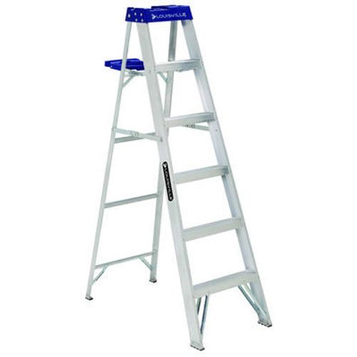 Louisville Ladder Louisville AS2100 250 lb 3 in Width X 3 in Depth NonConductive Rail 5 Rung 6Foot Aluminum Step Ladder 250Pound Capacity AS2106 6Feet 6 Ft
