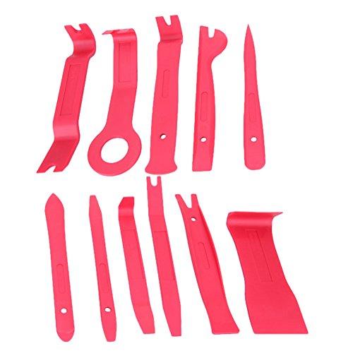 XZANTE 11Pcs Outil de Pince de Levier de Panneau de Porte Interieure de Radio de Voiture Tableau de Bord de gaufrage Kit d'outil de Pince de Reparation de Bricolage DIY de Voiture (Rouge)