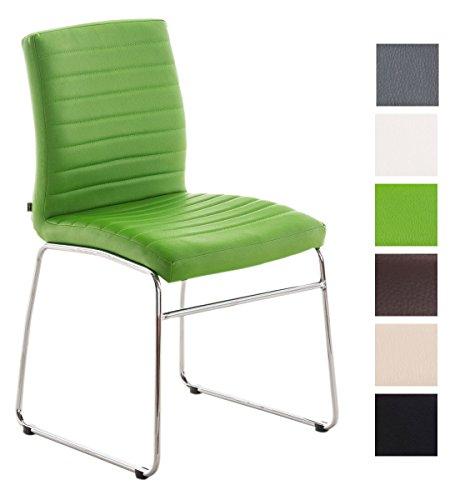 Esszimmerstuhl Lea Kunstleder | Küchenstuhl Mit Polsterung | Sitzhöhe: 47 cm | In Vielen Farben, Farbe:grün