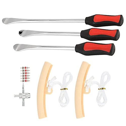Palanca de cucharas de neumáticos, 14,5 + 11,5 pulgadas, juego de herramientas de válvula protectora de llanta de rueda de hierro para palanca de cambio de neumáticos de motocicleta