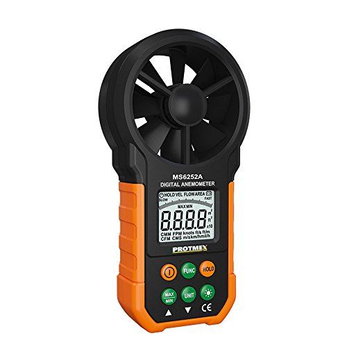 Protmex Windmesser Anemometer MS6252A Multifunktionales Windgeschwindigkeitsmesser Windmessgerät mit Batterie und Tasche für Windsurfen Drachenfliegen Surfing Segeln Angeln