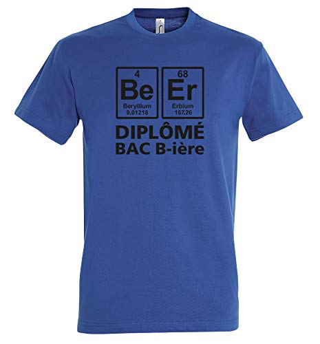 Boutique KKO - Camiseta Diplome con Bandeja de Cerveza Azul Cobalto L