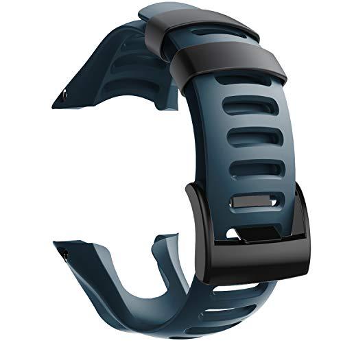 NotoCity Compatible con Correa Suunto Ambit 3, Silicona Reloj de Recambio Brazalete Correas para Suunto Ambit 3 (Hebilla Negra, Slate)
