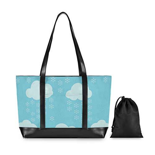 Fantazio - Bolso de lona ligera para portátil de 15,6 pulgadas, diseño de copo de nieve, color azul