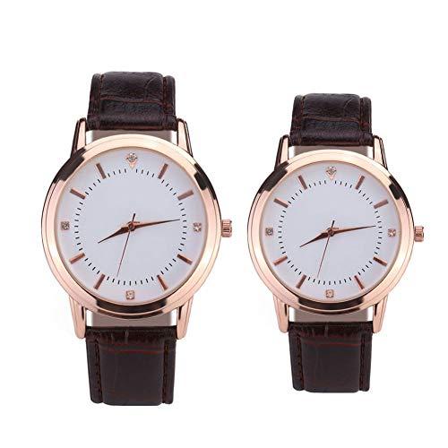 Koppelhorloge, romantisch analoog quartzhorloge voor hem en haar, horloge met leren band, 2-delige cadeauset voor koppels,Brown