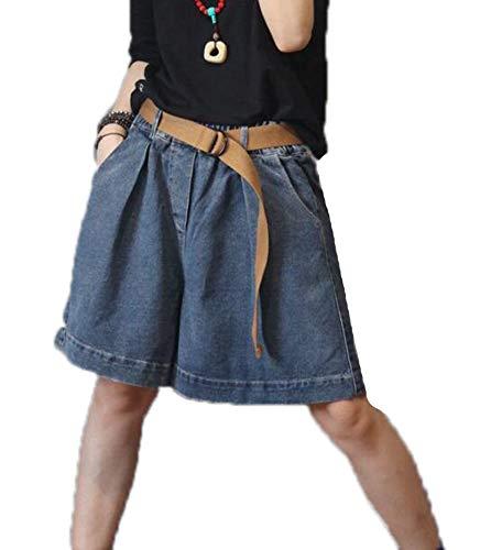Losse elastische Wais-denimshort voor dames Wijde hotpants met korte pijpen Jeans Korte broek (zonder riem)