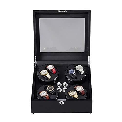 Oksmsa Madera Automático Cajas Giratorias for Relojes, Modo 5 con Motor Silencioso Reloj Almacenaje Caja for 8 Relojes (Color : Black)