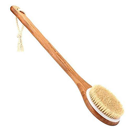 Brosse pour le corps avec des poils en bambou naturel avec de longues poignées en bambou, un récureur pour éliminer la kératine, améliorer la circulation sanguine et une brosse de douche