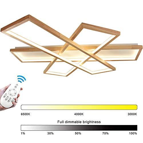 153W Holz LED Deckenleuchte, Wohnzimmer lampen Dimmbar Deckenlampe mit Fernbedienung, Modern Platz Chic Decke Leuchen Holzdesign Acryl, Innen Schlafzimmer Esszimmer Esstisch Deckenbeleuchtung,L