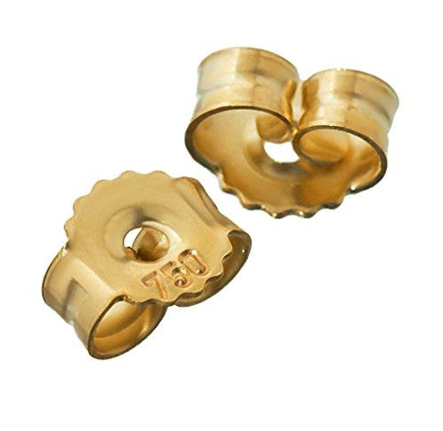 NKlaus 3 Paar 750 Gelbgold 18 Karat Gold 5,2mm Gegenstecker für Ohrstecker Ohrringe Ohrstopper Pousetten Ohrmutter Butterfly Schmetterling Verschluss Loch: 1,1mm 4818
