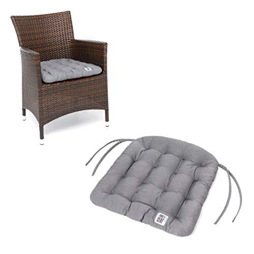 HAVE A SEAT Luxury - Sitzkissen Outdoor, 2er Set Sitzpolster Gartenstuhl (Hellgrau, Grau), Sitzauflage Rattan-Stuhl, bequem, robust, pflegeleicht, waschbar bei 95°C, Trockner geeignet.