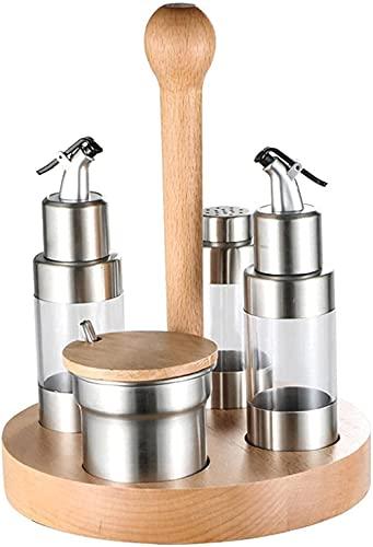 Kruiden Organizer Kruiken Set met Oil CANX2 Kruidenfles X1 Kruiden Jar X1 Bamboe Lade X1 Spice Racks Organizer voor…
