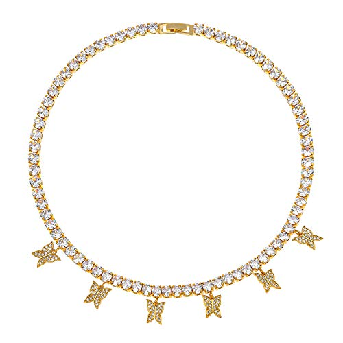 PLTGOOD Dainty Butterfly Choker Zirconia Bling Iced Necklace Handmade Jewelry Zircon Necklace Collection for Women Ladies Girls-Gold
